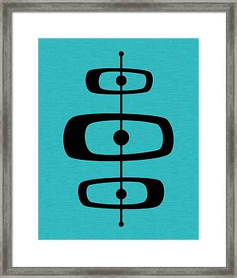 Mid Century Shapes 2 On Turquoise Framed Print
