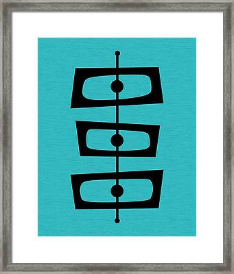 Framed Print featuring the digital art Mid Century Shapes On Turquoise by Donna Mibus