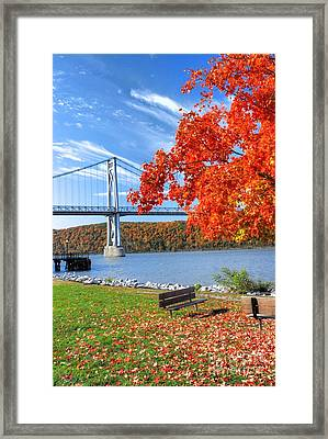 Mid Hudson Bridge In Fall Framed Print by Linda Covino