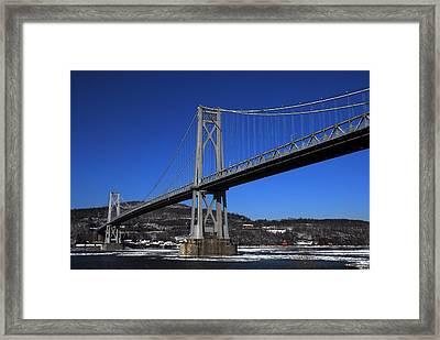 Mid Hudson Bridge In Winter Framed Print by Linda Covino