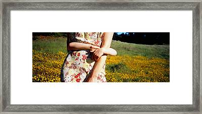 Mid Section View Of A Girl Hugging Framed Print by Panoramic Images