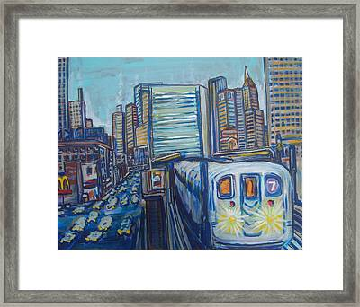 Mid-town Subway Tunnel Framed Print by Mitchell McClenney