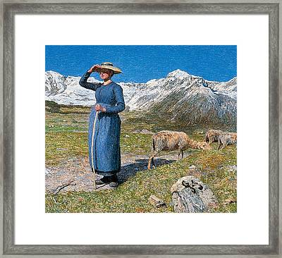 Midday On Alps On Windy Day Framed Print by Giovanni Segantini
