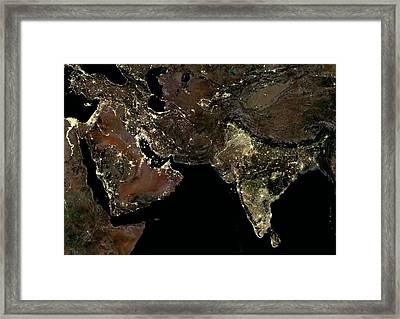 Middle East And India At Night Framed Print by Planetobserver