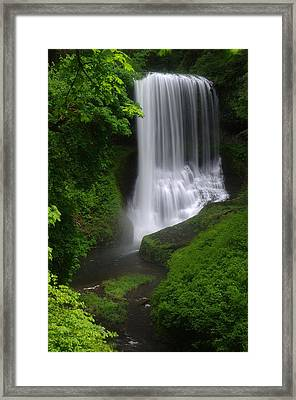 Middle North Falls Framed Print by Ken Dietz
