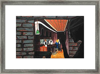 Framed Print featuring the painting Midnight At Dylan's by Lisa Brandel