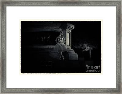 Midnight Ballerina New York City Framed Print by Sabine Jacobs