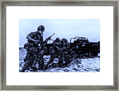Midnight Battle Let's Go Marines Framed Print by Thomas Woolworth