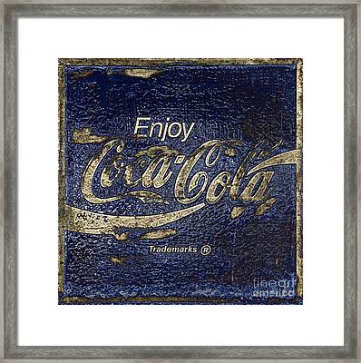 Midnight Blue Abstract Coca Cola Sign Framed Print by John Stephens
