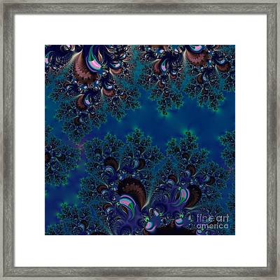 Midnight Blue Frost Crystals Fractal Framed Print