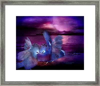 Midnight Blue Rendevous Framed Print by Carol Cavalaris