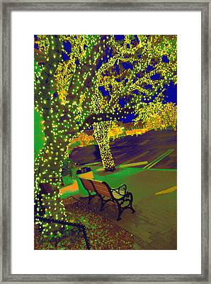 Midnight Lighting Highland Park Texas Framed Print by ARTography by Pamela Smale Williams