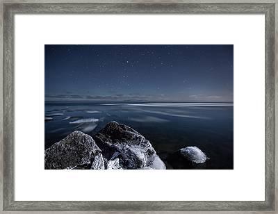 Midnight Freeze At Silver Harbour Framed Print by Jakub Sisak