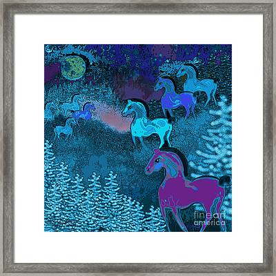 Midnight Horses Framed Print by Carol Jacobs