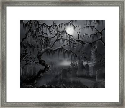 Midnight In The Graveyard  Framed Print by James Christopher Hill