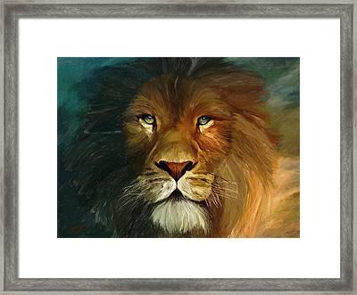 Lion Portrait Framed Print by James Shepherd