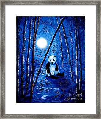 Midnight Lullaby In A Bamboo Forest Framed Print by Laura Iverson