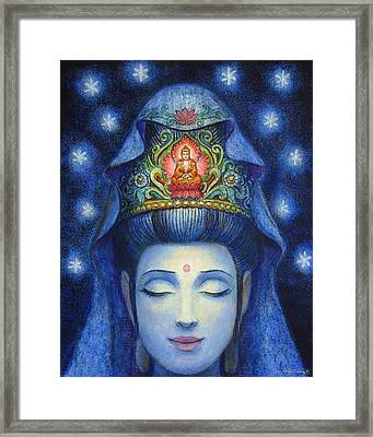 Midnight Meditation Kuan Yin Framed Print by Sue Halstenberg