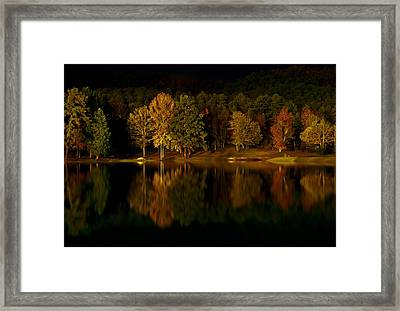 Midnight On The Lake Framed Print by Linda Unger