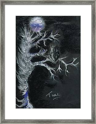 Framed Print featuring the drawing Midnight Owl by Teresa White