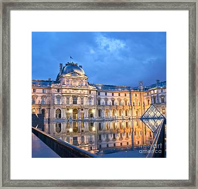 Midnight Reflection At The Louvre Framed Print