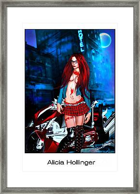 Midnight Rendezvous With A Rebel Redhead On A Motorcycle Framed Print
