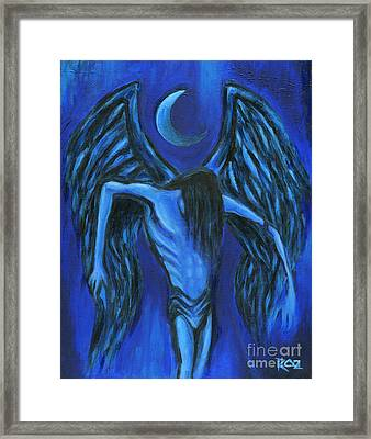 Framed Print featuring the painting Midnight by Roz Abellera Art