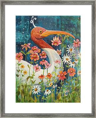 Midnight Stork Walk Framed Print by Blenda Studio