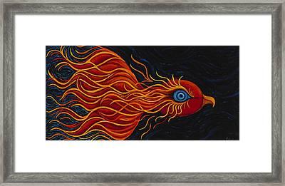Mythical Phoenix Midnight Sun Framed Print by Karen Balon