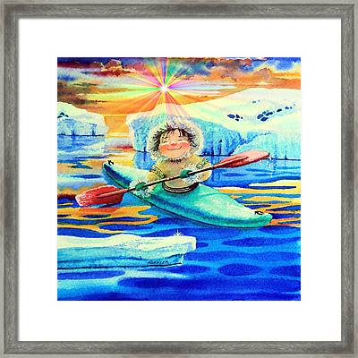 Midnight Sun Kayaker Framed Print