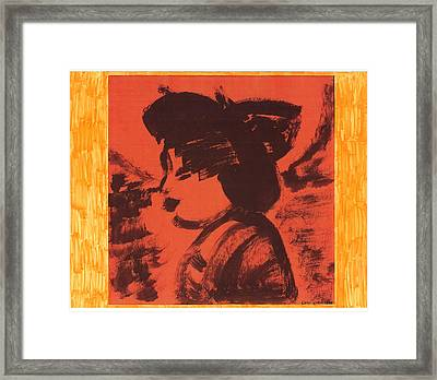 Framed Print featuring the painting Midori The Geisha by Don Koester