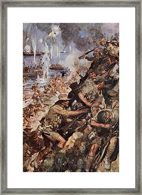 Midst Shot And Shell We Made The Narrow Framed Print by Cyrus Cuneo