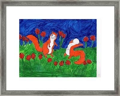 Midsummer Red Squirrels Framed Print by Frances Garry