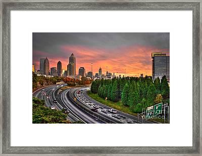 Midtown Atlanta Autumn Sunset Art    Framed Print