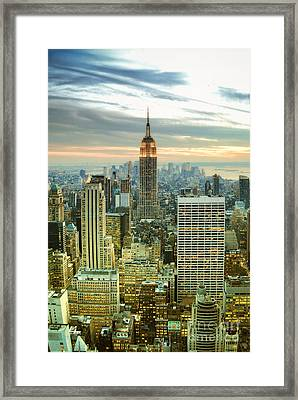 Midtown Manhattan And Empire State Building New York City Framed Print by Sabine Jacobs