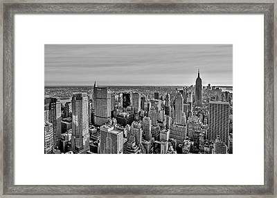 Midtown Manhattan Empire State Bw Framed Print by Susan Candelario