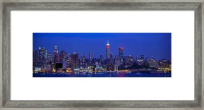 Midtown Manhattan From Nj, Night, New Framed Print by Panoramic Images