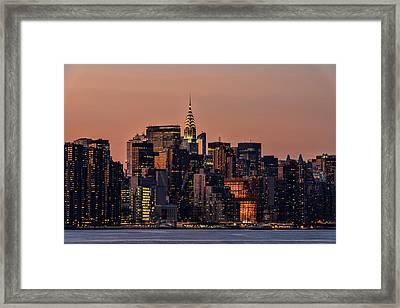 Midtown Manhattan Skyline At Sunset Framed Print
