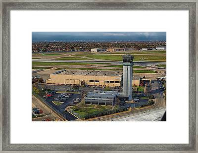 Midway Tower Chicago Airplanes 05 Framed Print by Thomas Woolworth