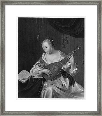 Mieris Lady Singing Framed Print by Granger