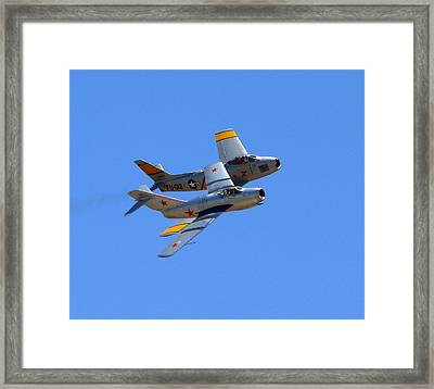 Framed Print featuring the photograph Mig 15 And F86 Sabre by Jeff Lowe