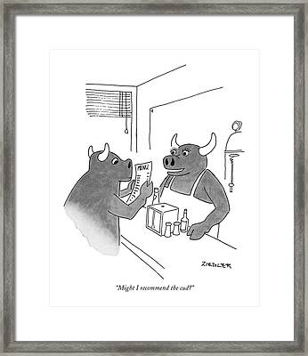 Might I Recommend The Cud? Framed Print by Jack Ziegler