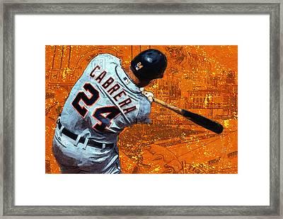 Miguel Cabrera A Slugger Framed Print by John Farr