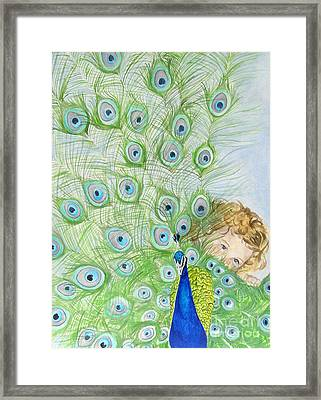 Mika And Peacock Framed Print