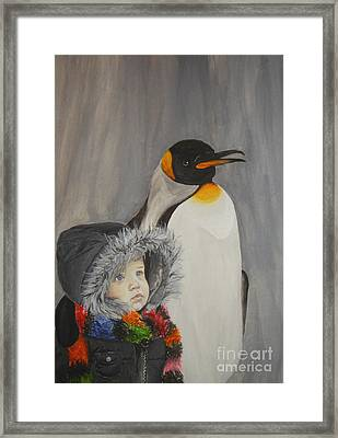 Mika And Penguin Framed Print