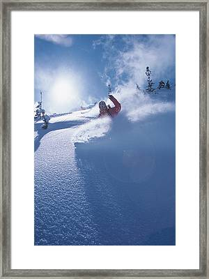 Mike Carving Fresh Snow In Big Framed Print by Howie Garber