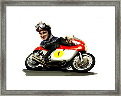 Mike The Bike  Mike Hailwood Framed Print by Iconic Images Art Gallery David Pucciarelli