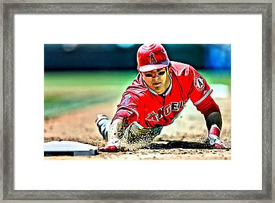 Mike Trout Painting Framed Print