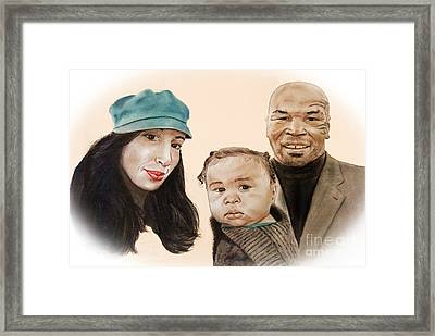Mike Tyson And Family Altered Version From The One I Gave Him Framed Print