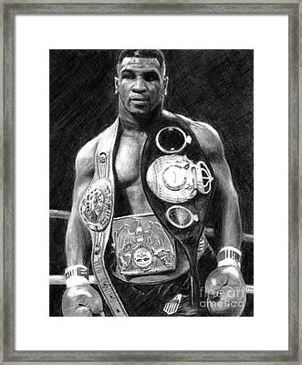 Mike Tyson Pencil Drawing Framed Print